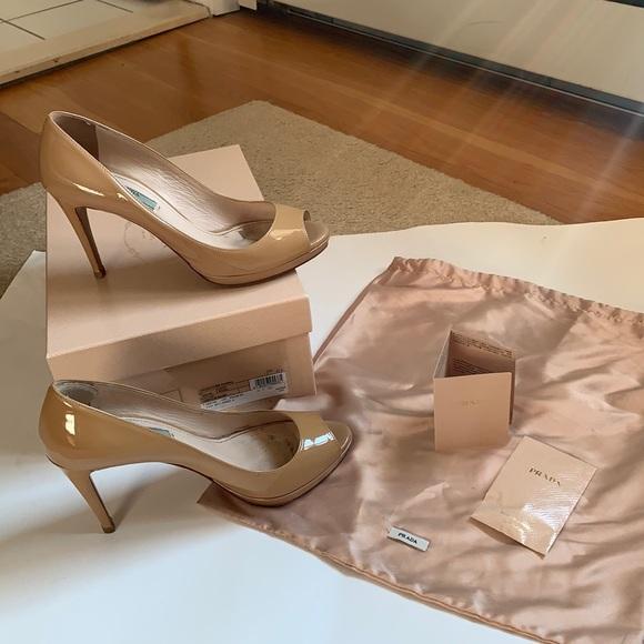 Prada Nude Peep Toe Patent Leather Platform Heels
